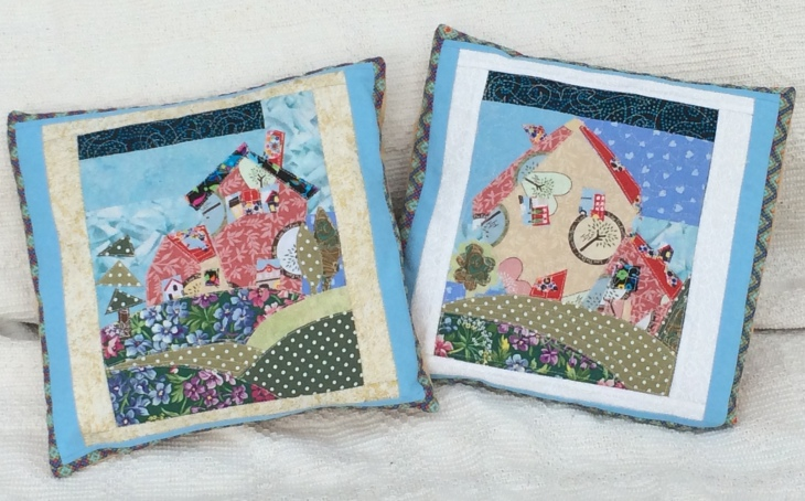 These two cushions measure 10.5 inches (26 cm). £12.00 each or 2 for £20.00.
